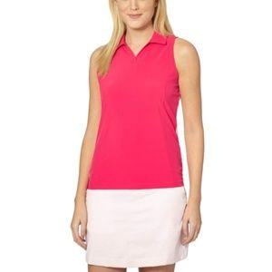 Puma Woven Block Sleeveless Golf Polo Shirt